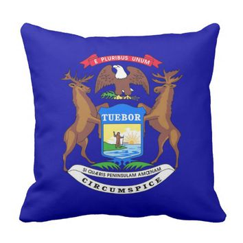 Michigan State Flag American MoJo Pillow