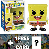 SpongeBob: Funko POP! x SpongeBob Squarepants Vinyl Figure + 1 FREE American Cartoon Themed Trading Card Bundle [28910]