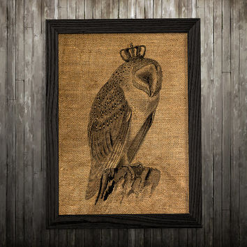 Bird print Owl poster Animal art Burlap print BLP181