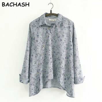 Spring New Women Shirt Cotton Linen Button White Blue Floral Turn down Collar Irregular Loose Blouse