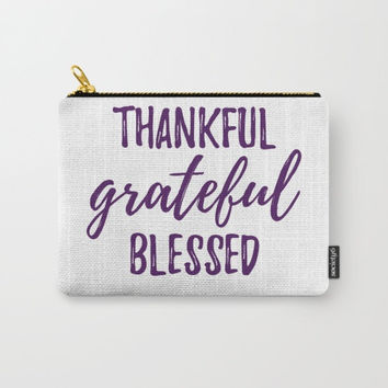 Thanksgiving Bag, Small Accessory Bag, Small Laptop Tote, Thankful Sayings, Grateful Blessed, White and Plum, Customization Available