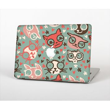 The Vector Cat Faced Collage Skin Set for the Apple MacBook Air 11""