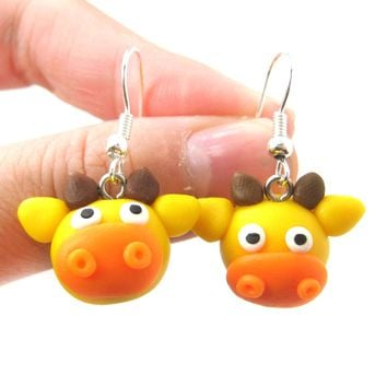 Giraffe Shaped Animal Themed Polymer Clay Dangle Earrings | DOTOLY