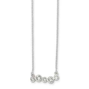 Sterling Silver Polished 5 Bezel Set CZs 16in Necklace QG4287