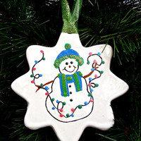 Hand Painted Snowman With Lights Christmas Ornament