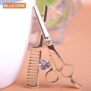Blucome Comb Scissors Brooch Hat Collar Clips Bijoux Austrian Crystal Hijab Pins Up Brooches For Wedding Dress 2017 Girl Jewelry