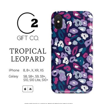 Tropical Leopard Print - Heavy Duty Shock Absorption Phone Case For Iphone X, Xr, Xs, 8, 8+ & Samsung Galaxy S10, S10+, S9, S9+, S8, S8+