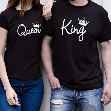King Queen T Shirt Imperial Crown Printing Couples Matching Tees