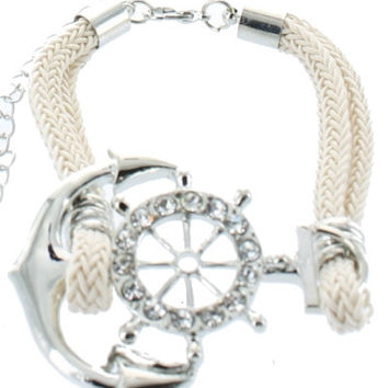 Trendy Nautical ANCHOR Wheel White Rope Adjustable Silver Bracelet Costume Jewelry Gift