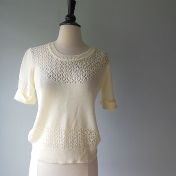1970s pointelle knit white Sweater