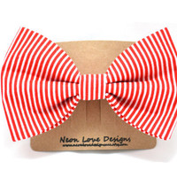 Red and White Stripe Hair Bow Barrette