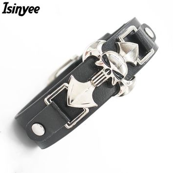ISINYEE 2017 Skeleton Skulls Bracelet Wide Leather Cross Bracelets Bangles For Women Men Silver Punk Jewelry Best Friends Gift