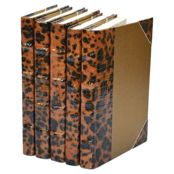 Choco Leopard Collection, Copper, Set of 5, Decorative Books & Bindings