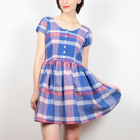 Vintage 90s Dress Blue Red White Plaid Mini Dress 1990s Dress Skater Dress Skater Skirt Mini Day Dress Preppy Shirt Dress S Small M Medium