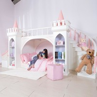 0125TB005 European-style modern girl bedroom furniture princess castle children bed with slide storage cabinet double bed