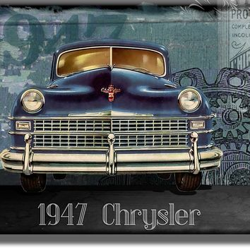 Vintage Chrysler, Classic Car Picture on Acrylic , Wall Art Décor, Ready to Hang