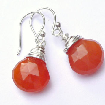 Carnelian Sterling Silver Wire Wrapped Earrings Gemstone briolette Teardrops Fall Fashion Jewelry