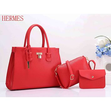 Hermes Popular Women Pure Color Leather Handbag Shoulder Bag Crossbody Purse Wallet Set Three Piece Red I-XS-PJ-BB