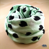 Mint Heart Print Infinity Scarf