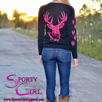 Black Ladies long sleeve with neon pink big buck