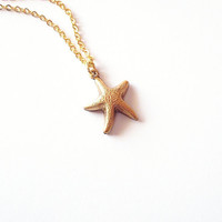 Starfish Charm Necklace - Tiny Gold Sea Star - Beach Boho Cute Adorable Minimal Romantic - Elegant - Whimsical - Dreamy - Mermaid Collection