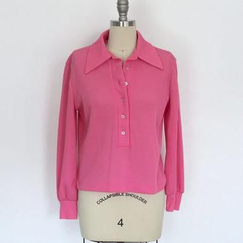 Vintage Polo Shirt / Hot Pink Blouse / Stage 7 / 1970s 70s 1980s 80s / Size Medium M