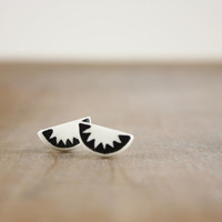 Half circle minimal geometric clay studs, white black contemporary earrings