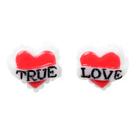 Red True Love Stud Earrings