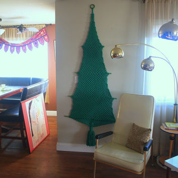 VINTAGE CHRISTMAS TREE Handmade Macrame Wall Hanging Tassel - Christmas Decorations - Tall & Large