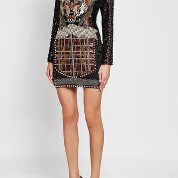 Mini Dress with Bead and Sequin Embellishment - Balmain | WOMEN | US STYLEBOP.COM