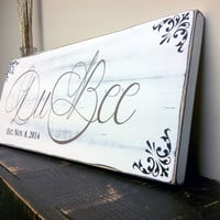 Rustic Family Established Sign with Last Name and Est Date Personalized in Rustic White Finish