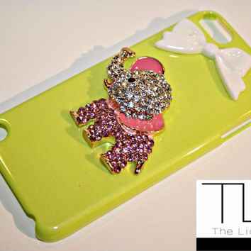 Lime Green & Pink Elephant iPod 5th Gen Case