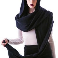 Widow Hooded Scarf Black One
