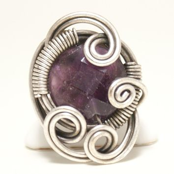 Handmade Amethyst Ring, Wire Wrapped