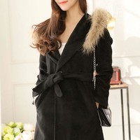 Black Fur Collar Single Breasted Trench Coat