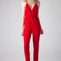Bless'ed Are The Meek Paprika Jumpsuit in Raspberry