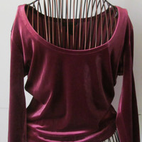 Wine Berry Velvet Blouse Scoop Neck Blouse Burgundy Velvet Blouse Women sz S Junior Small Tops 90s Clothing 90s Shirts Scoop Neck Tops