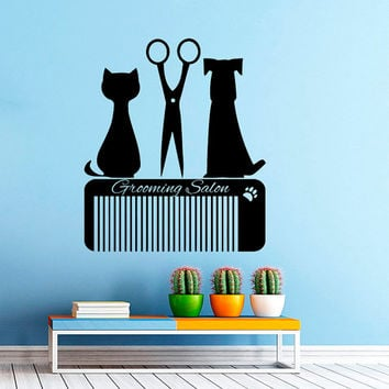 Grooming Salon Wall Decal Pet Shop Vinyl Sticker Decals Dog Comb Scissors Grooming Salon Decor Interior Art Murals Window Decal AN731