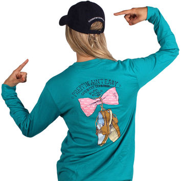 Exclusive Preppin' Ain't Easy Long Sleeve Tee in Tropical Green by Lauren James & CCP