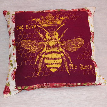 Decorative Queen Bee Pillow Screenprint God Save the Queen Your Choice of One