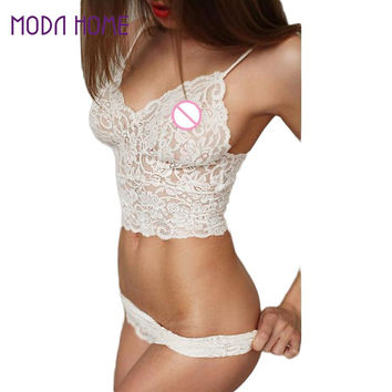 Sexy Style Women Lace Lingerie Set Sheer Corset Push Up Vest Top And Panties Set Women Underwear Suit White Intimates Sets SM6