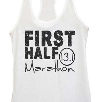 Womens FIRST HALF Marathon Grapahic Design Fitted Tank Top