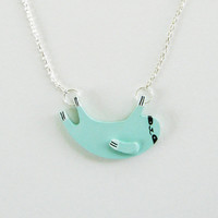 Sloth Necklace - Light Blue - Ships July 13th