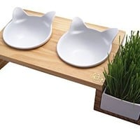 ViviPet Cat Dining Table - 15° Tilted Platform Pet Feeder Solid Pine Stand with Ceramic Bowls - Elevated Cat Feeder Raised Cat Bowl Mykonos Collection