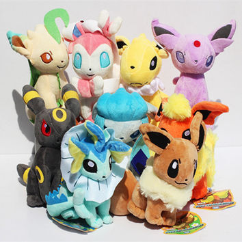 9 pcs/set pokemon Eevee Family Plush Toys Doll Stuffed Animals Eevee Espeon Jolteon Vaporeon Flareon Glaceon Kids Plush Toys