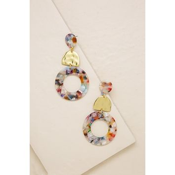 Blossom Drop Hoop Earrings in Rainbow Resin & Gold