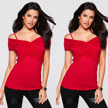 Summer Women's Fashion Spaghetti Strap V-neck Sexy Tops T-shirts [6343452417]