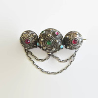 Etruscan Revival Pin, Victorian Era Brooch, 800 Silver, Hallmarked, Rose Cut Rhinestones, Persian Turquoise Cabochons, Charming!