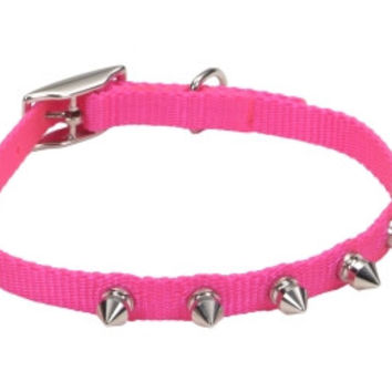 """Lil Pals Spiked Nylon Puppy Collar 3/8"""" x 10"""" Pink"""