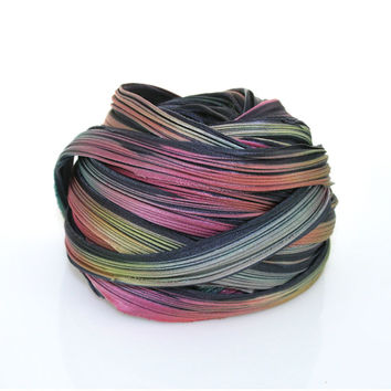 Shibori Girls Hand Dyed Silk Ribbon Midnight Boreralis Shibori Silk Ribbon
